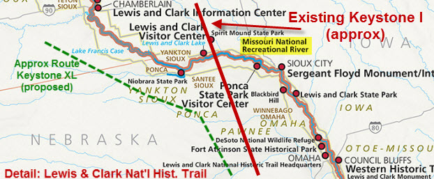 Detail of the Lewis & Clark Nat'l Historical Trail, showing the approximate routes of the existing Keystone I Pipeline (red) and proposed Keystone XL (green).